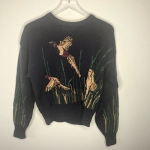 JH Collectibles Pheasant and Dog Scene Sweater VTG